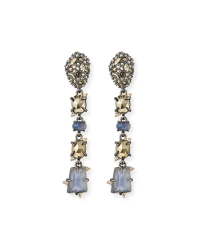 Linear Mixed-Cut Crystal Drop Earrings