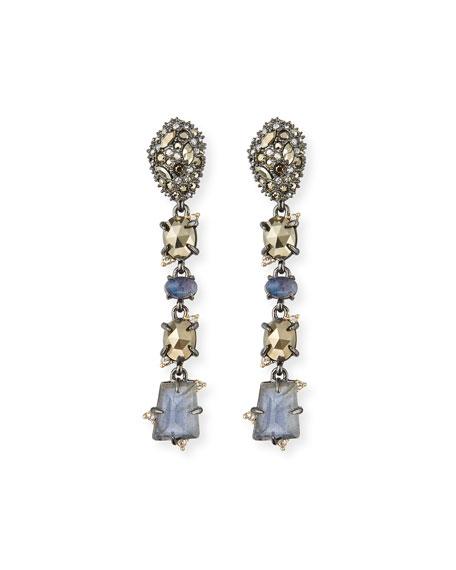 Alexis Bittar Linear Mixed-Cut Crystal Drop Earrings