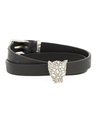 Leather Choker Wrap Bracelet with Panther Head Charm