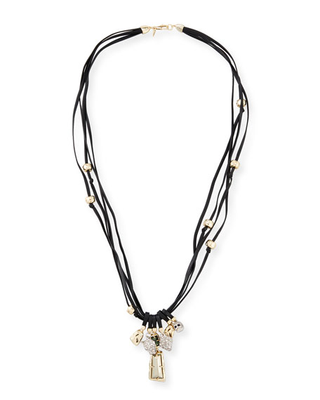 Charm Necklace on Leather Cord