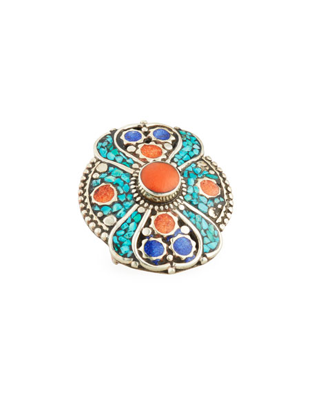 Turquoise, Coral & Lapis Statement Ring