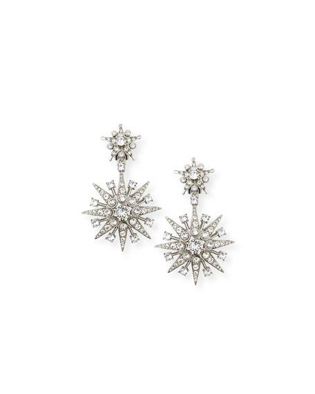 Crystal Star Drop Clip-On Earrings