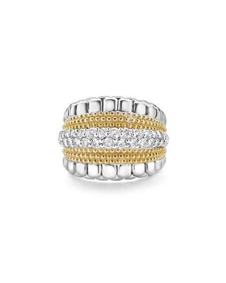 Image 2 of 5: Lagos Lux Medium Band Ring with Diamonds, Size 7