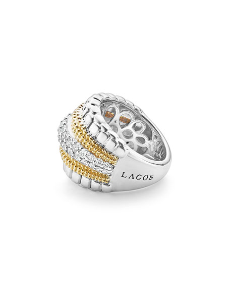 Image 3 of 5: Lagos Lux Medium Band Ring with Diamonds, Size 7