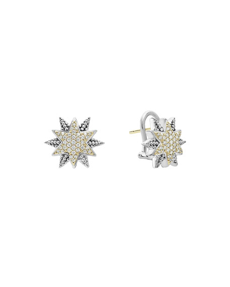 LAGOS Sterling Silver & 18K Gold Star Stud Earrings with Diamonds