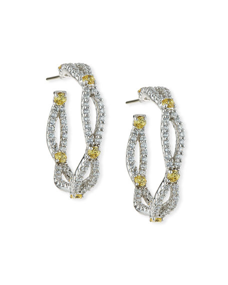 Image 1 of 2: Fantasia by DeSerio Open Weave Yellow & White CZ Hoop Earrings