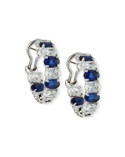 Alternating Blue & White CZ Hoop Earrings