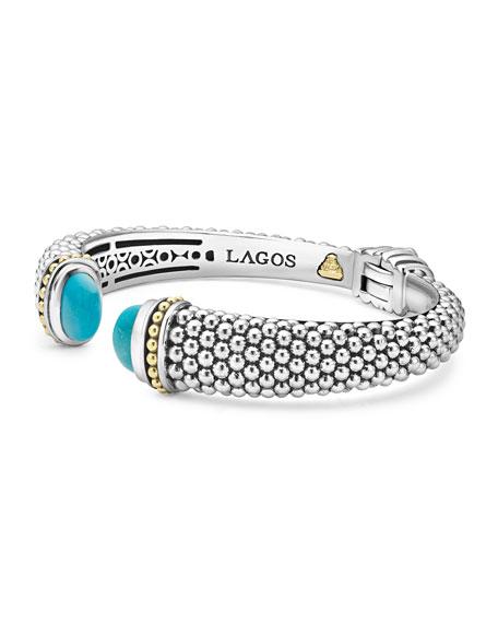 Caviar Medium Cuff Bracelet with Blue Topaz Caps