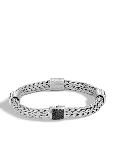 Classic Chain Silver Medium Four Station Bracelet with Black Sapphire