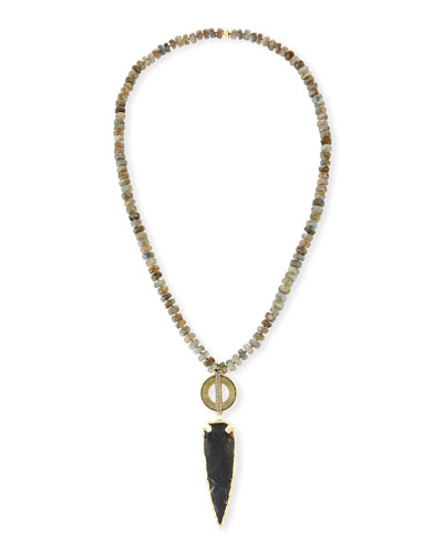 Beaded Labradorite & Jasper Arrowhead Pendant Necklace