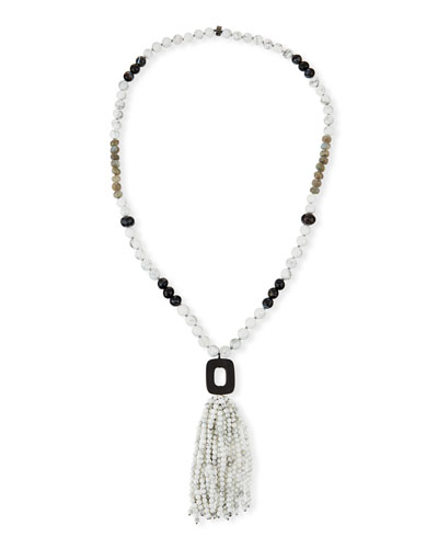 White Howlite & Agate Tassel Necklace