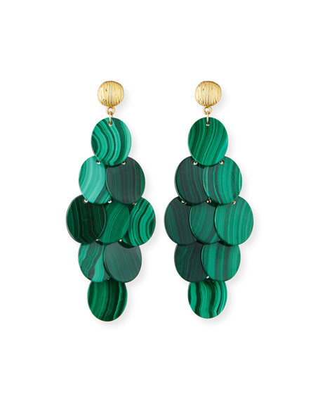 Image 1 of 2: NEST Jewelry Malachite Cluster Statement Earrings
