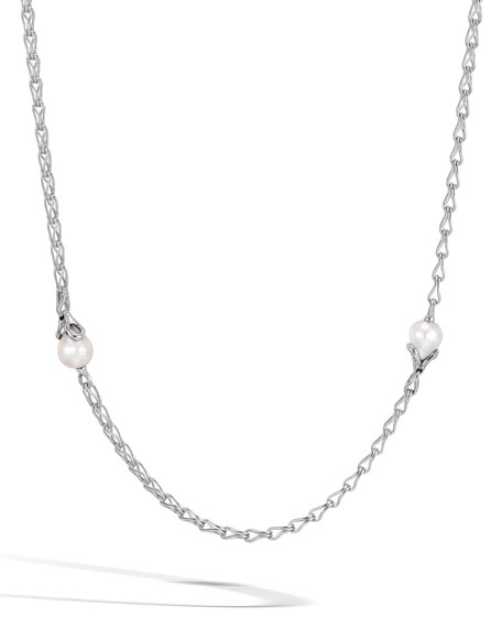 John Hardy Bamboo Chain Necklace with Pearls, 36