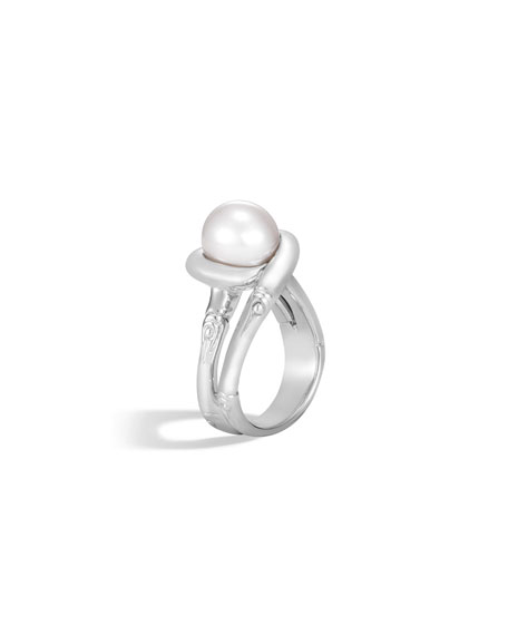 Bamboo Silver Ring with Pearl, Size 7