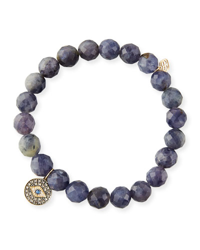 8mm Beaded Iolite Bracelet with Diamond Eye Disc Charm