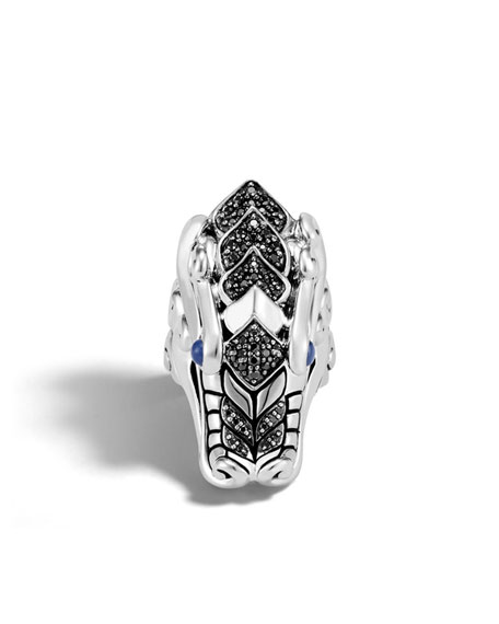 Legends Naga Silver Ring with Sapphires, Size 7