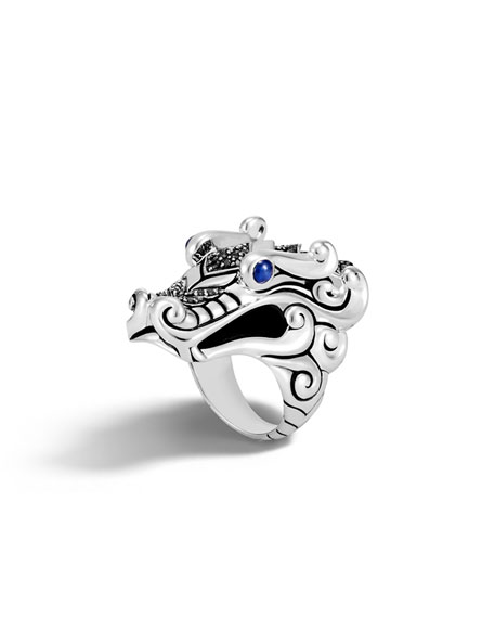John Hardy Legends Naga Silver Ring with Sapphires,