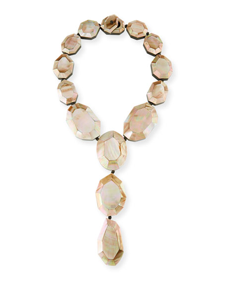 Faceted Pink Mother-of-Pearl Lariat Necklace