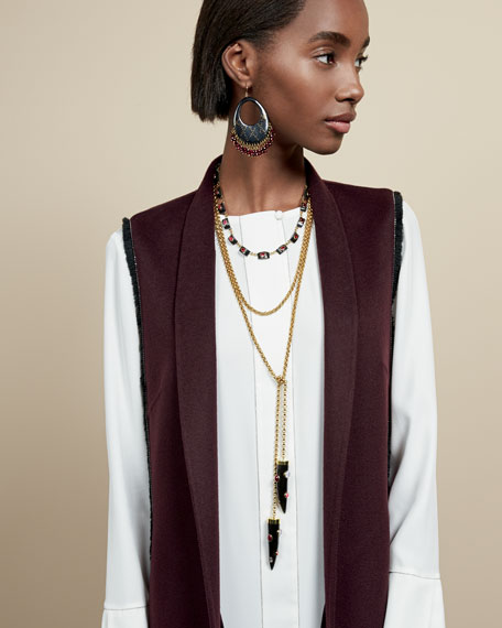 Upendo Dark Horn Lariat Necklace