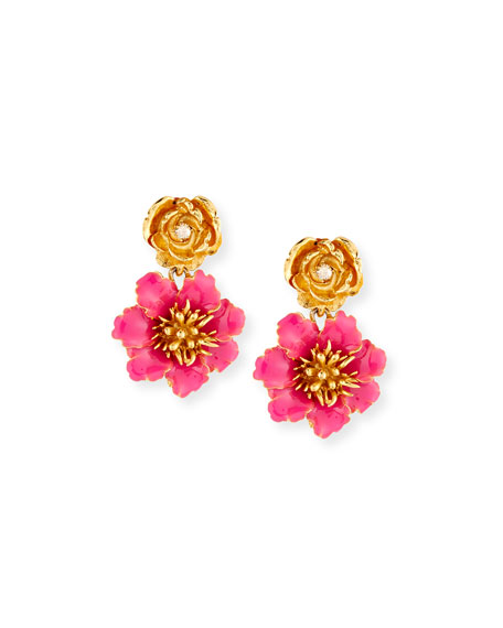 Oscar de la Renta Gilded Floral Clip-On Earrings