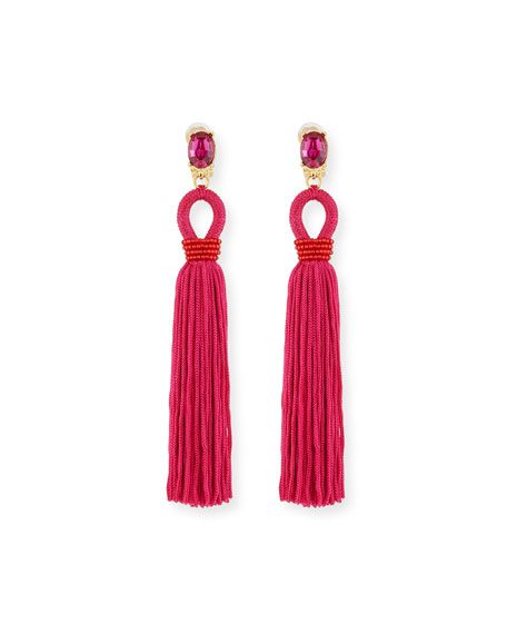 Image 1 of 2: Long Silk Tassel Drop Clip-On Earrings