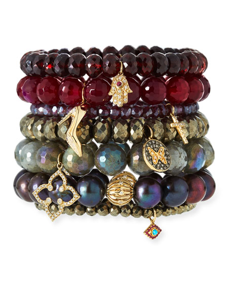 Image 3 of 3: Sydney Evan Champagne Pyrite Beaded Bracelet with Ruby & Turquoise Evil Eye Charm