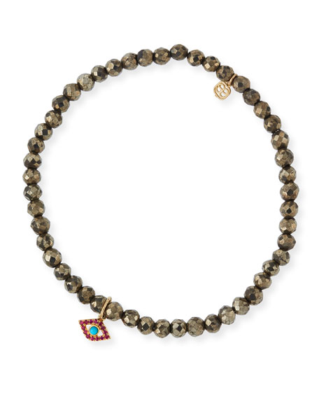 Image 1 of 3: Sydney Evan Champagne Pyrite Beaded Bracelet with Ruby & Turquoise Evil Eye Charm