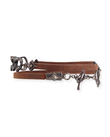 Old World Midnight Leather Link Bracelet with Diamonds