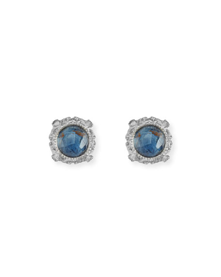Armenta Blue Pietersite Doublet Stud Earrings with Diamonds