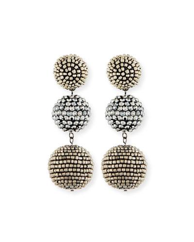 Beaded Gunmetal Triple-Drop Earrings
