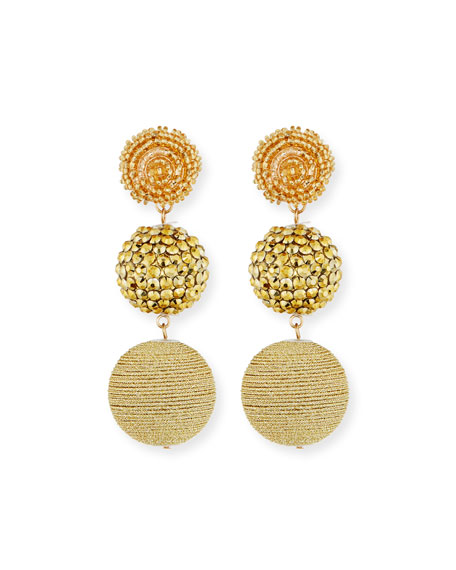Kenneth Jay Lane Beaded Golden Triple-Drop Earrings