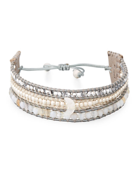 Chan Luu Three-Strand Pull-Tie Bracelet in Gray Agate