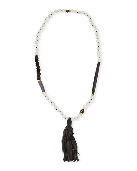 Akola Long Paper Moonstone Beaded Necklace with Leather