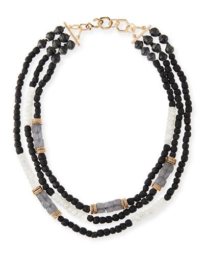 Three-Strand Beaded Moonstone Necklace