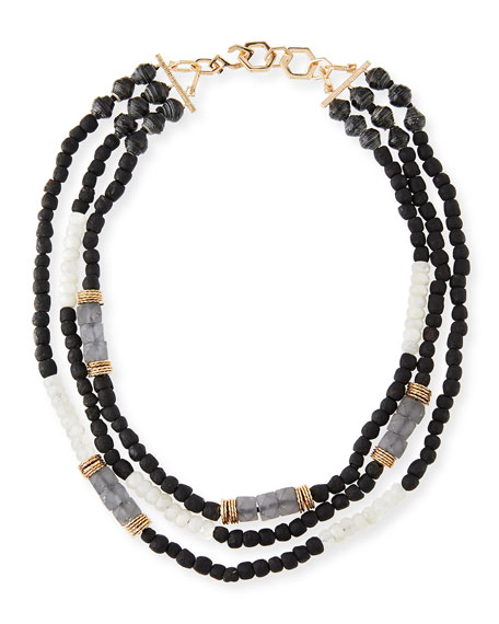 Akola Three-Strand Beaded Moonstone Necklace