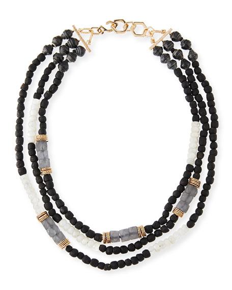 Akola Three-Strand Beaded Moonstone Necklace