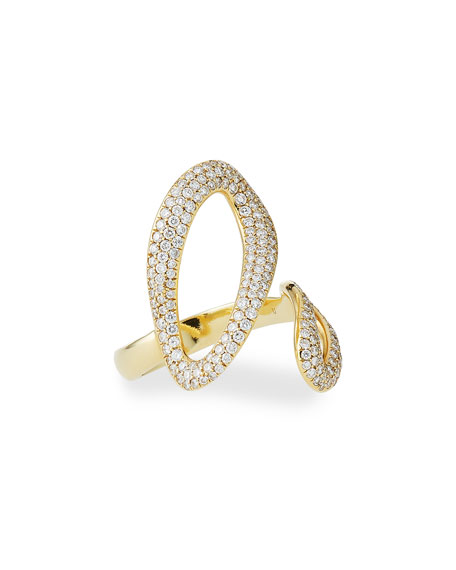 18K Cherish Bypass Ring with Diamonds, Size 7