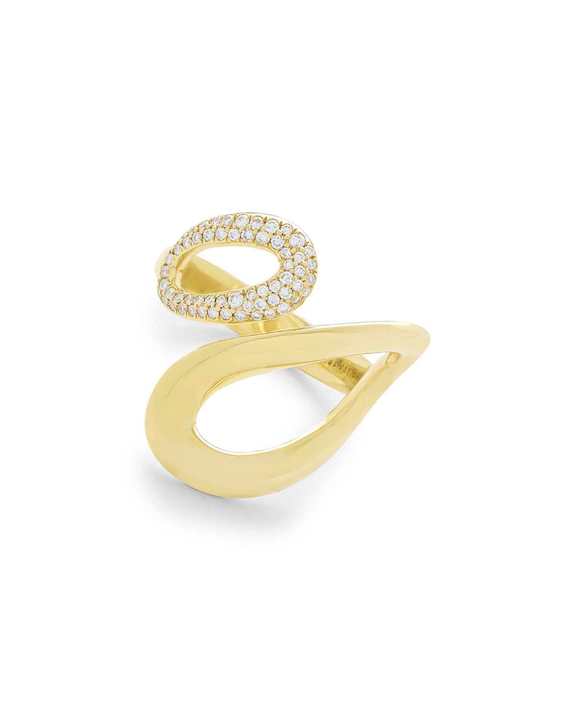 Ippolita 18K Cherish Overlapping Link Ring with Diamonds, Size 7