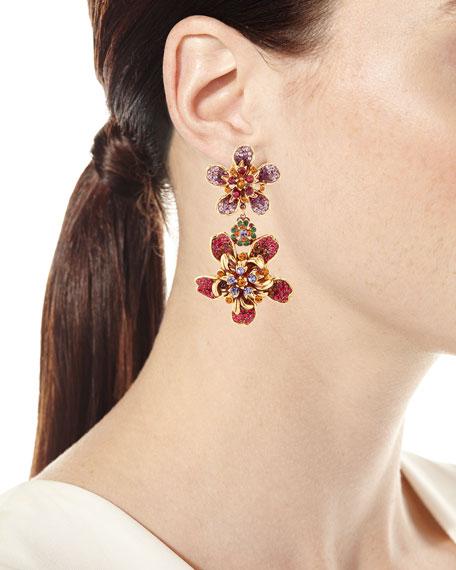 Pavé Crystal Flower Double-Drop Clip-On Earrings
