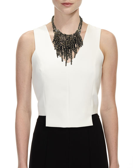 Cascading Pearly Pyrite Statement Necklace