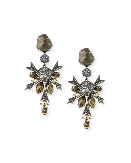 Baroque Pearly Crystal Statement Clip-On Earrings