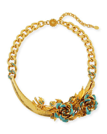 Jose & Maria Barrera 3D Floral Collar Necklace