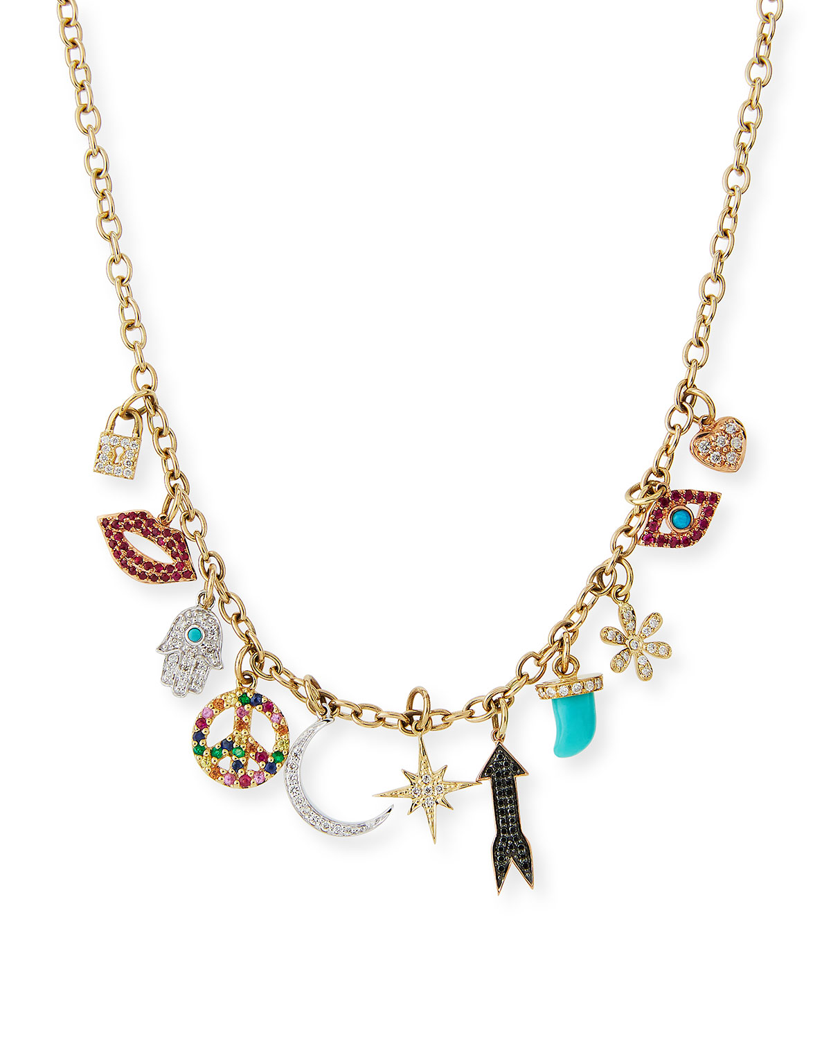 14 karat gold charms necklace neiman marcus quick look sydney evan multi charm necklace with diamonds available in gold mozeypictures Gallery