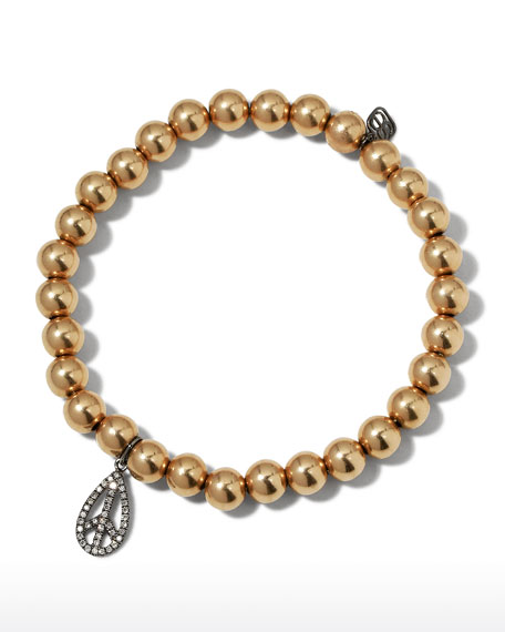 Sydney Evan 6mm Golden Beaded Bracelet with Diamond