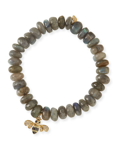 10mm Smooth Labradorite Beaded Bracelet with Diamond & Sapphire Bee Charm