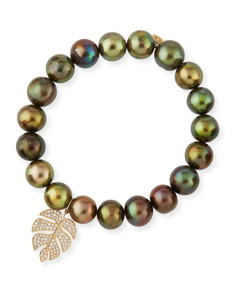 Olive Pearl Beaded Bracelet with Diamond Monstera Leaf Charm