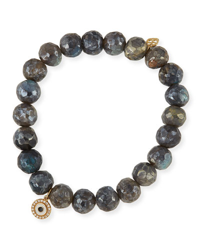 8mm Beaded Labradorite Bracelet with Diamond Disc Eye