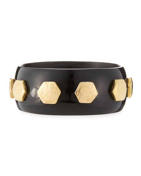 Ashley Pittman Rasmi Dark Horn Bangle MnENO