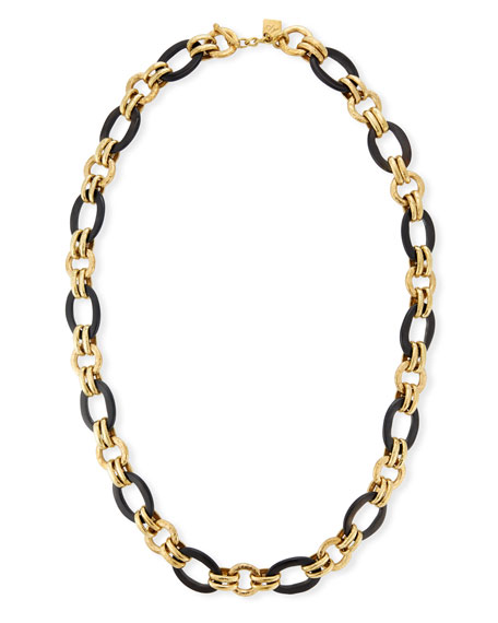 Ikulu Dark Horn & Bronze Chain Necklace, 36""