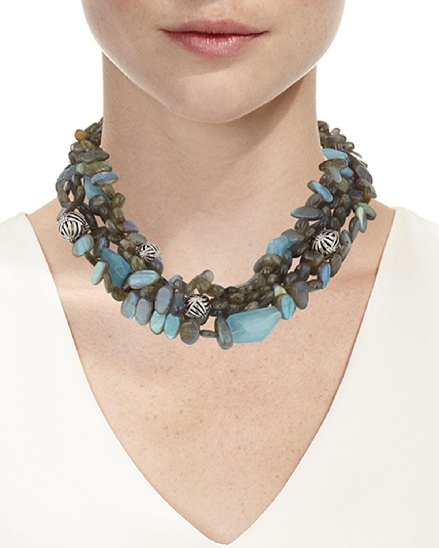 Stephen Dweck Four-Strand Labradorite & Blue Quartz Necklace eR1AcFl